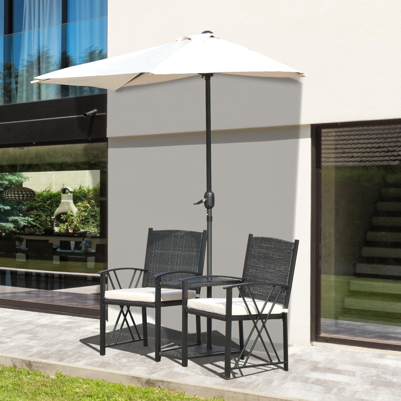 Outsunny® Wicker Rattan Gartenset Sitzgruppe 2 x Gartenstuhl mit Sonnenschirm