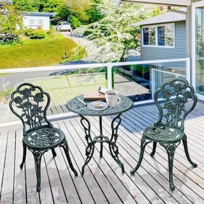 Outsunny® Bistroset Balkon 3-tlg. Gussaluminium Antik Grün