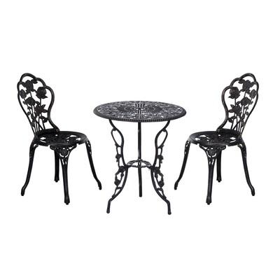 Outsunny® Gartenmöbel 3 tlg. Gartenset Sitzgruppe Tisch Stuhl Metall Bronze