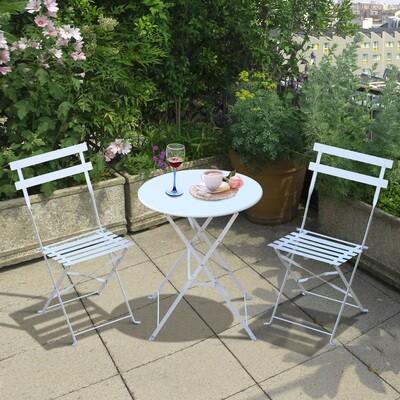 Outsunny® Bistroset 3 teilig Gartenset Balkonmöbel Metall Weiss
