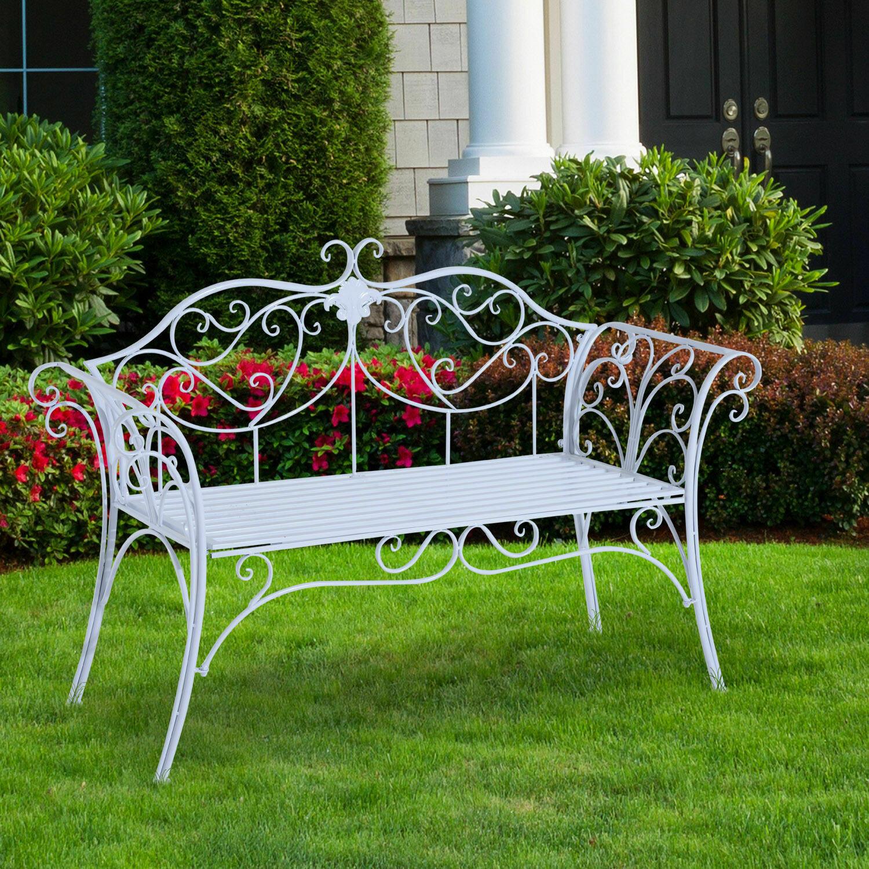 Outsunny® Gartenbank Metall 2 Sitzer antik Weiss