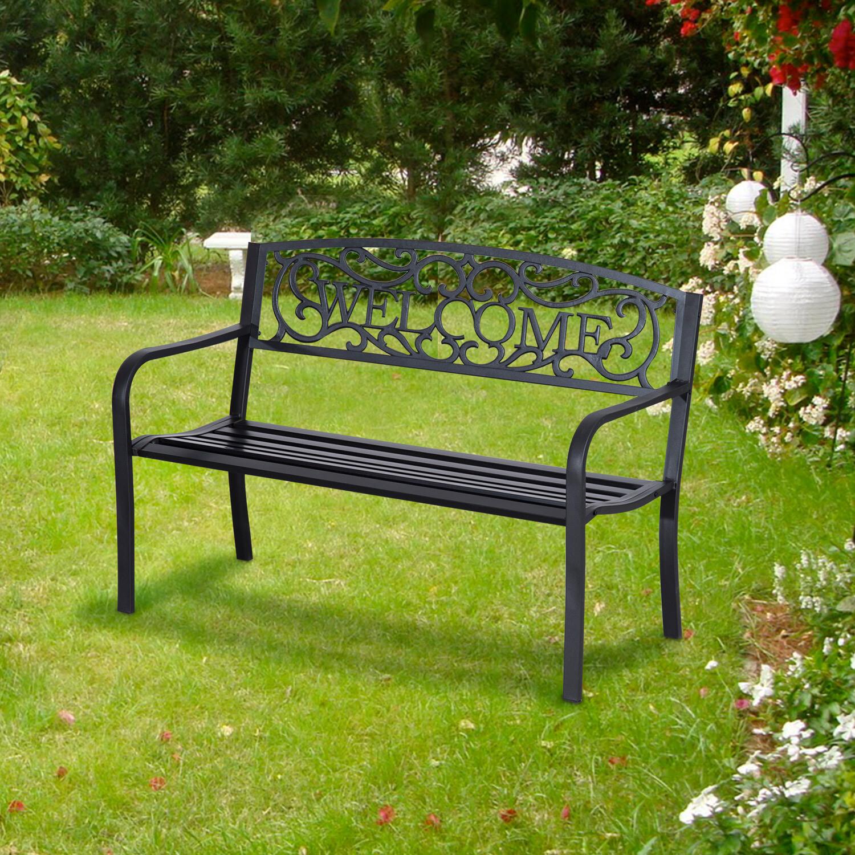 Outsunny® Gartenbank 2-Sitzer Sitzbank Bank Parkbank Metall Gartenmöbel