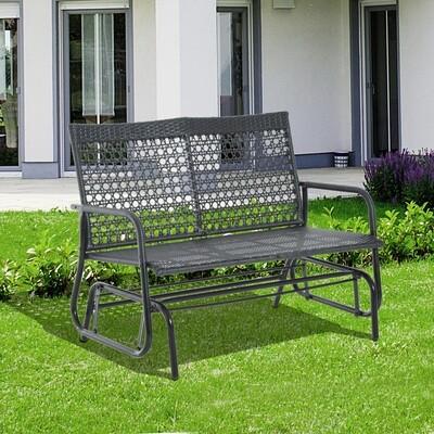 Outsunny® Schaukelbank Gartenschaukel Polyrattan 2-Sitzer schwarz