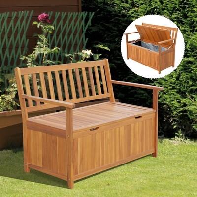 Outsunny® Gartenbank Truhenbank mit Stauraum Holz Natur