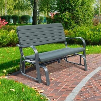 Outsunny® Schaukelbank Gartenbank Parkbank Metall Gartenmöbel 2-Sitzer