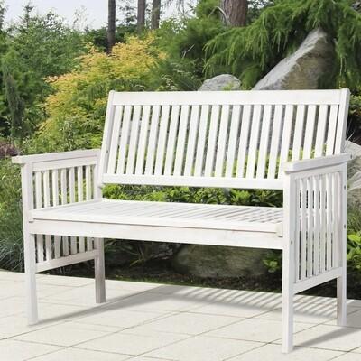 Outsunny® 2-Sitzer Sitzbank Gartenbank Holzbank Bank mit Armlehne Landhausstil Akazienholz Weiß 117 x 63 x 90 cm