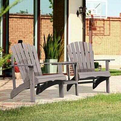 Outsunny® Gartenbank mit Tisch Gartenmöbel mit Regenschirmloch 2 Stühle Balkon Massivholz