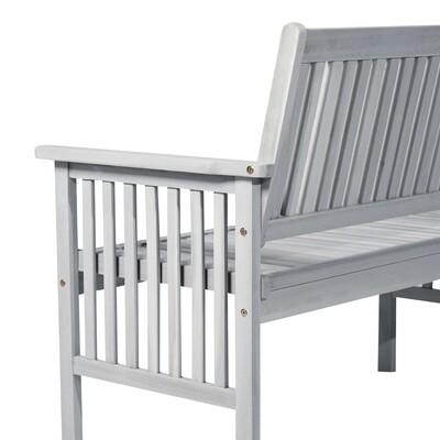 Outsunny® 2-Sitzer Sitzbank Gartenbank Holzbank mit Armlehne Landhausstil Akazienholz Grau 117 x 63 x 90 cm