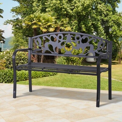 Outsunny® 2-Sitzer Sitzbank Gartenbank Metallbank mit Armlehne Landhausstil Metall Schwarz 128 x 50 x 91 cm