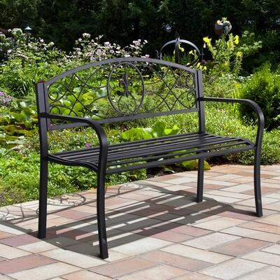 Outsunny® 2-Sitzer Sitzbank Gartenbank mit Armlehne Metallbank Landhausstil Metall Schwarz 128 x 50 x 91 cm