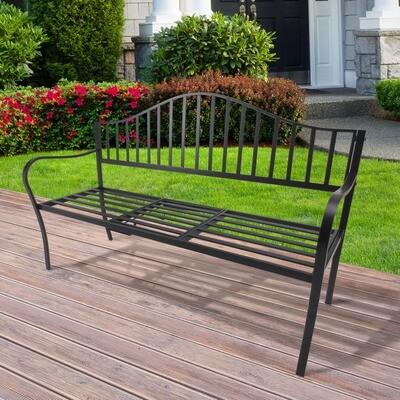 Outsunny® Gartenbank 2 Sitzer Sitzbank Parkbank Metallbank Bankauflage mit Armlehne mit Klappbeistelltisch Schwarz 160 x 53 x 95 cm