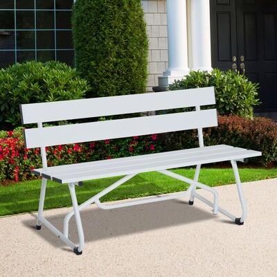 Outsunny® Parkbank 2-Sitzer Garten Weiß B120 x T53 x H70cm
