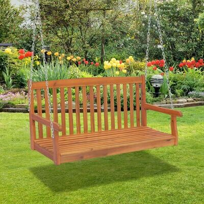 Outsunny® Hängebank Gartenschaukel 2-Sitzer mit Ketten Holz Braun