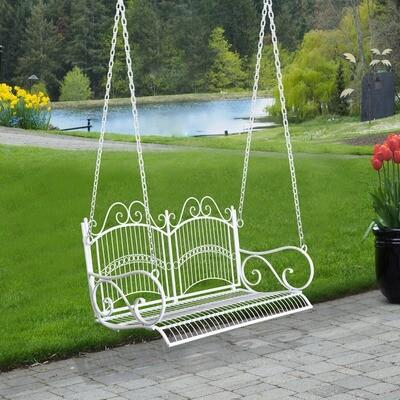 Outsunny® Hängebank Gartenschaukel mit Ketten Metall Weiss