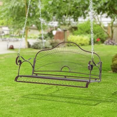 Outsunny® Hängebank Gartenschaukel mit Ketten Metall Braun