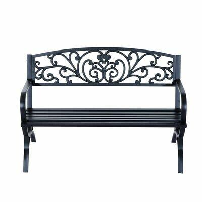 Outsunny® Gartenbank Metall Garten 2-Sitzer 127x60x85cm