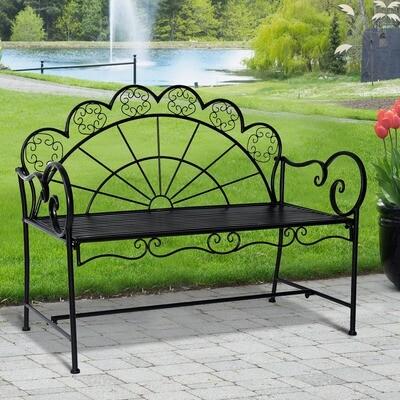 Outsunny® Gartenbank Sitzbank Gartenmöbel 2-Sitzer Metall Schwarz