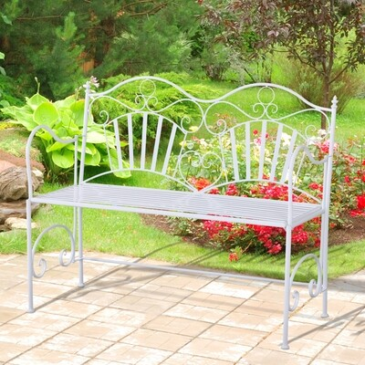 Outsunny® 2-Sitzer Sitzbank Gartenbank Metallbank Bank mit Armlehne Antik Metall Weiss 111 x 48 x 91 cm