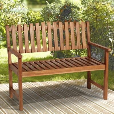 Outsunny® 2-Sitzer Sitzbank Gartenbank Holzbank mit Armlehne Landhausstil Akazienholz Rotbraun 120 x 65 x 91,5 cm