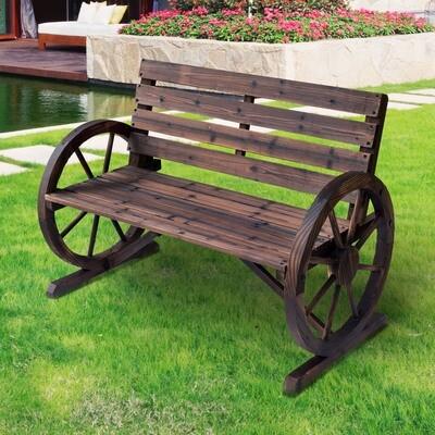 Outsunny® Gartenbank 2-Sitzer Sitzbank Parkbank Holzbank Wagenrad mit Armlehne Landhausstil Tannenholz Braun 105,5 x 56 x 75 cm