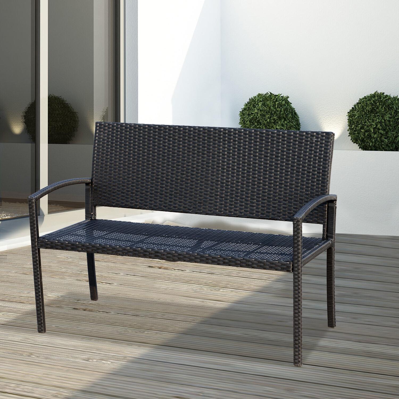 Outsunny® Wicker Polyrattan Gartenbank Sitzbank 2-Sitzer Stahl Schwarz