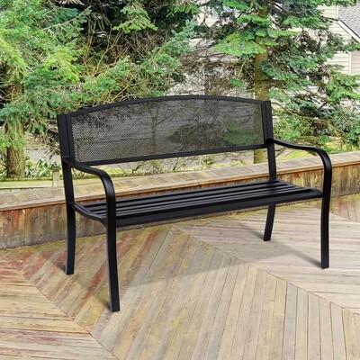 Outsunny® Gartenbank Sitzbank 2-Sitzer Stahl Schwarz