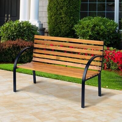 Outsunny® Gartenbank Sitzbank Parkbank 2-Sitzer Stahl+Holz Natur