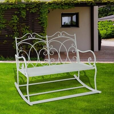 Outsunny® Schaukelbank 2-Sitzer Metall Milchweiss