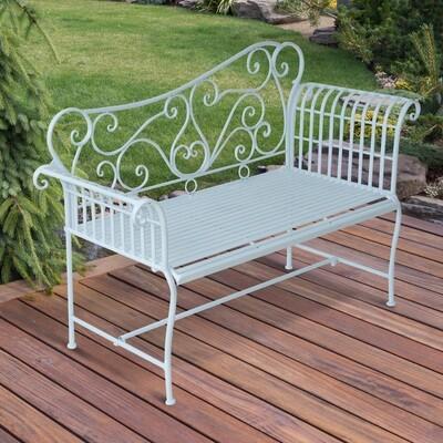 Outsunny® Gartenbank Sitzbank 2-Sitzer Metall Weiss