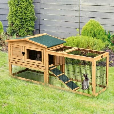 PawHut® Kaninchenstall Hasenstall Hasenkäfig mit Laufstall Doppelstock Massivholz Natur