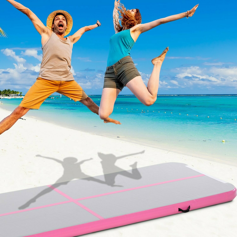 HOMCOM® Luftmatratze 3 m, Aufblasbare Trainingsmatte, Gymnastik Tumbling Matte, PVC Grau