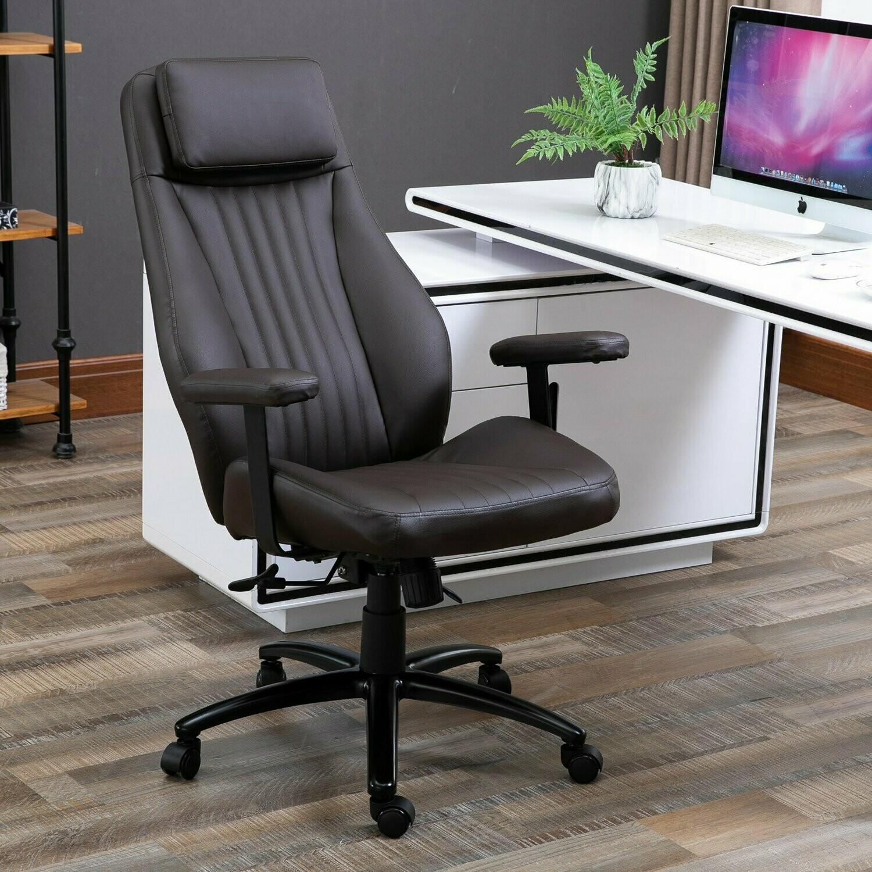 Vinsetto® Bürostuhl Höhenverstellbarer Drehstuhl Chefsessel mit Wippfunktion PU Braun