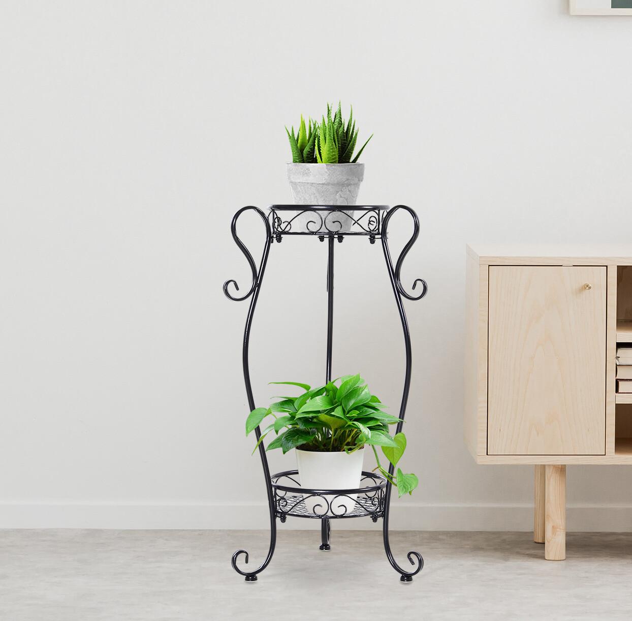 Outsunny® Pflanzenregal Gartenregal Blumenregal Blumentreppe 2 Ablage Metall Schwarz