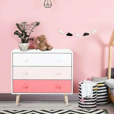 HOMCOM® Kinderzimmer Schrank 3 Schubladen Kinderschrank Kommode Aufbewahrung MDF Rosa