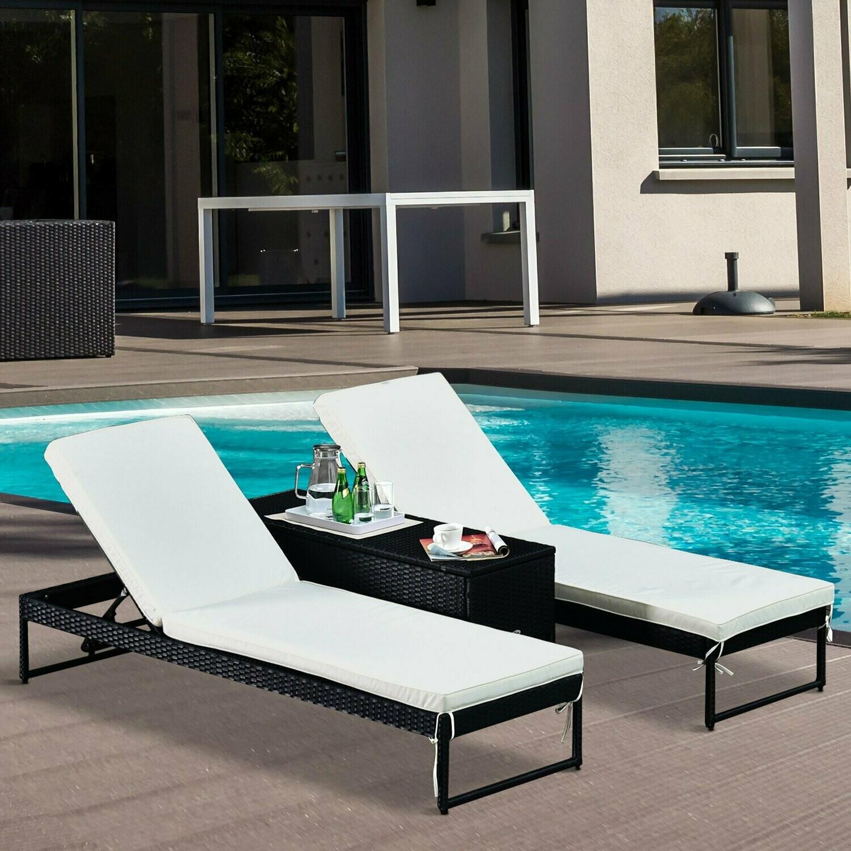Outsunny® Wicker Gartenliege Relaxliege Doppelliege Beistelltisch 2 Personen 5-stufig PE Creme