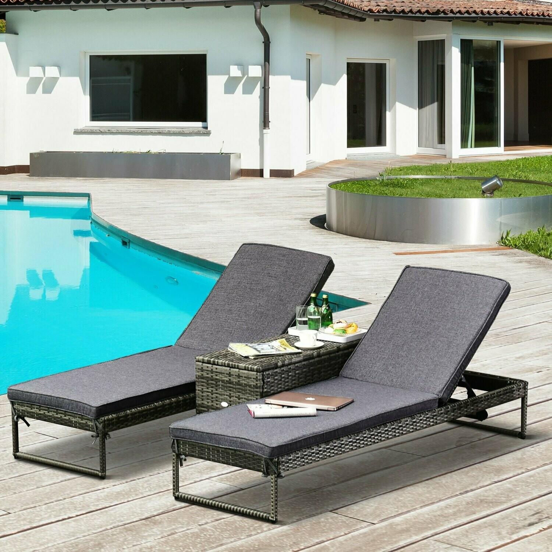 Outsunny® Wicker Gartenliege Relaxliege Doppelliege Beistelltisch 2 Personen 5-stufig PE Grau