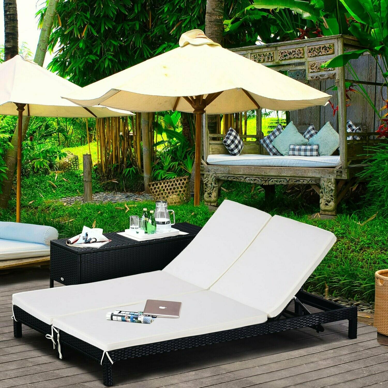 Outlet: Outsunny® Gartenliege Doppelliege Relaxliege für 2 Personen 5-stufig Metall PE Rattan Creme