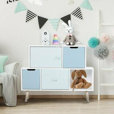 HOMCOM® Kinderzimmer Schrank Kinderschrank 3 Schubladen Aufbewahrungsregal MDF Blau