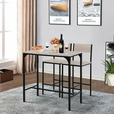 HOMCOM® Barstuhl Barhocker Küchentisch Bartisch mit 2 Stühlen 3-teiliges Tischset MDF