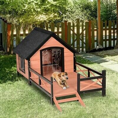 PawHut® Hundehütte, Hundehaus mit Terrasse, Asphaltdach, Fenster, Massivholz, Braun