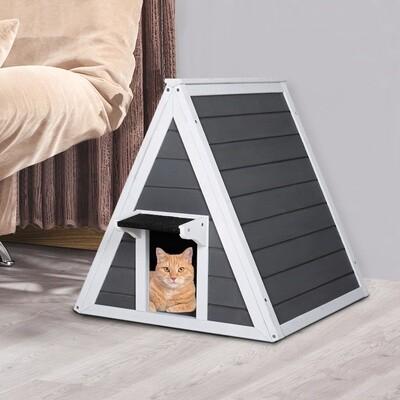 PawHut® Hundehütte Katzenhaus Dreieck Holzhaus für Katzen Katzenhöhle 2 Türe Massivholz Grau