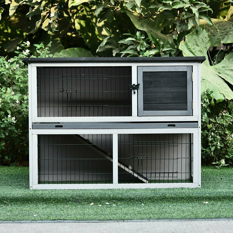 Outlet: PawHut® Hasenstall Hasenkäfig Kaninchenstall mit Laufstall Doppelstock Massivholz Grau