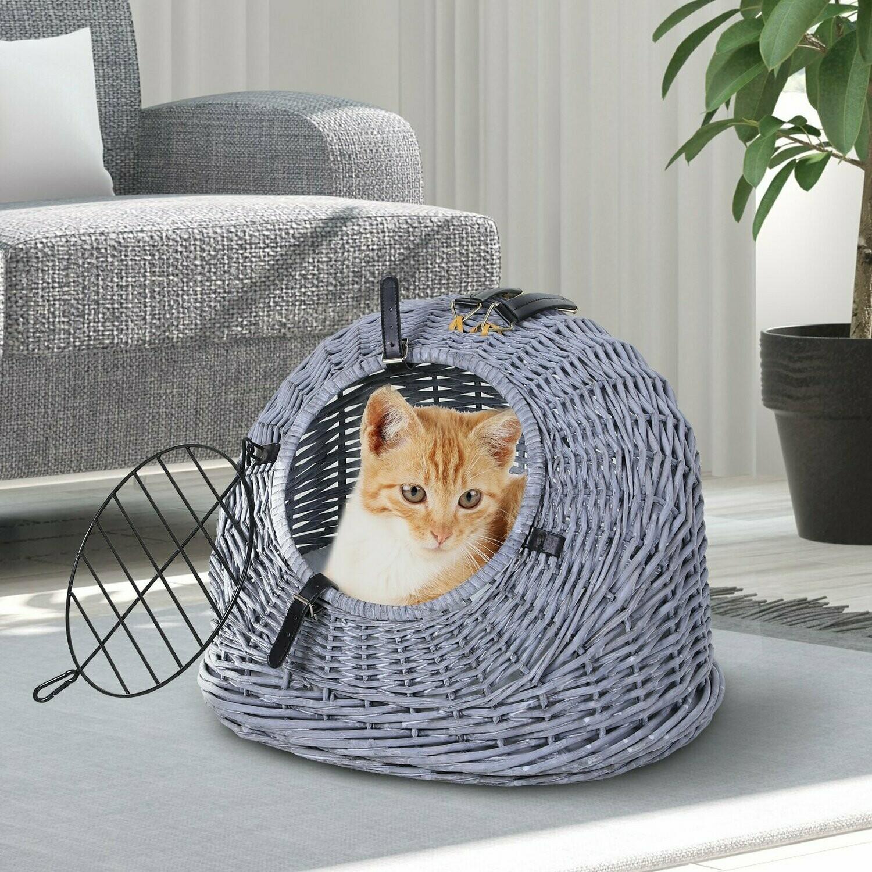 PawHut® Katzenhaus Katzenkorb Katzenhöhle Katzenbett mit Kissen Transportbox Weide Grau
