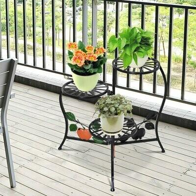 Outsunny® Blumentreppe Pflanzenregal 3 Ablage Pflanzenständer Retro-Design Deko Metall