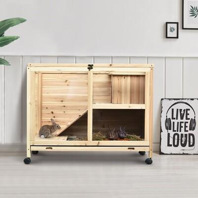 PawHut® Kaninchenstall Hasenstall Hasenkäfig Doppelstock Ausziehbare Schale Massivholz