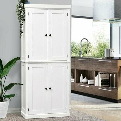 HOMCOM® Schrank Hochschrank Kommode 6 Ebenen verstellbare Regalebene Küche MDF Weiss