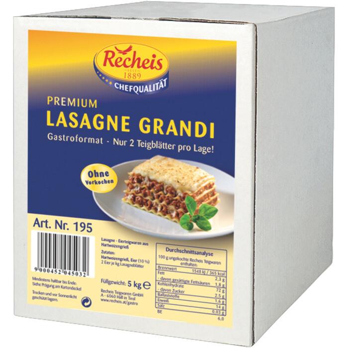 Grosspackung Recheis Lasagne grandi gelb 5 kg