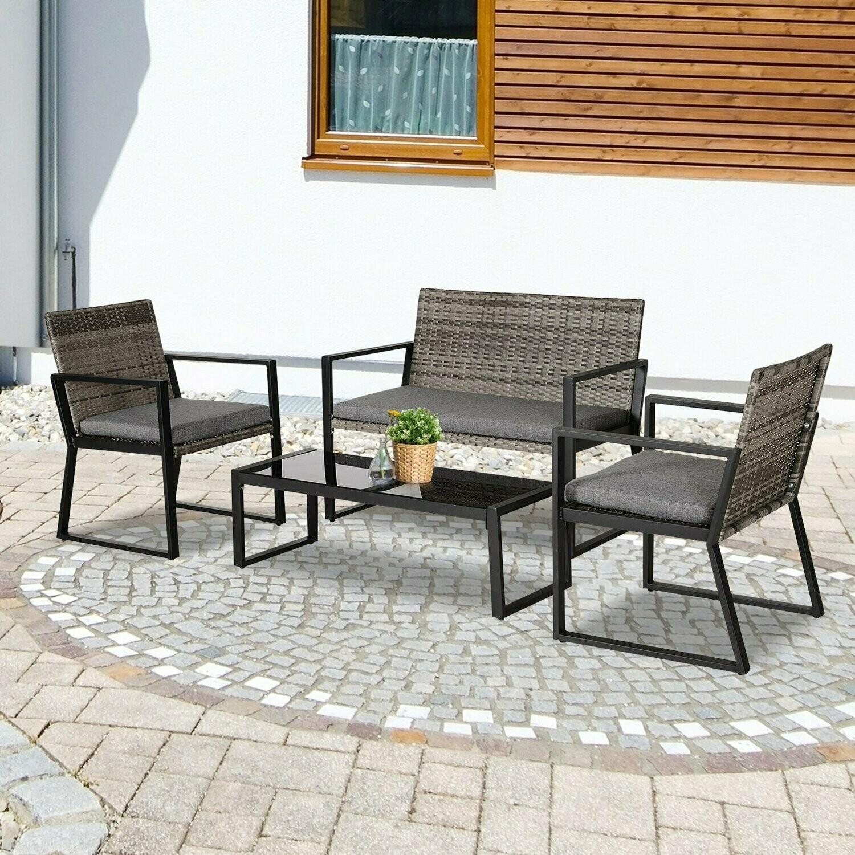 Outsunny® Vierteiliges Gartenmöbel Set Sitzgruppe Sofa Sitzkissen Couchtisch Stahl Grau