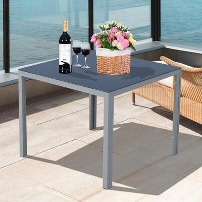 Outsunny® Gartentisch mit Glasplatte | Aluminium, Sicherheitsglas | Schwarz, Silber | 87 x 87 cm