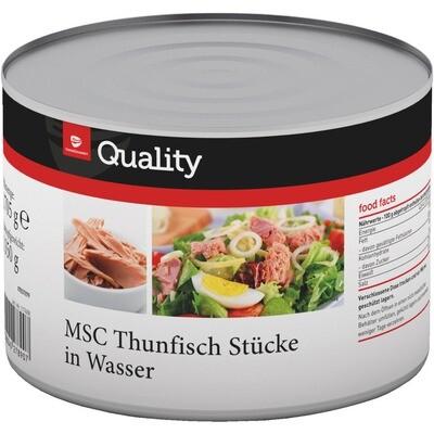 Grosspackung Quality Thunfisch / Thon Stücke in Wasser MSC 1880 g